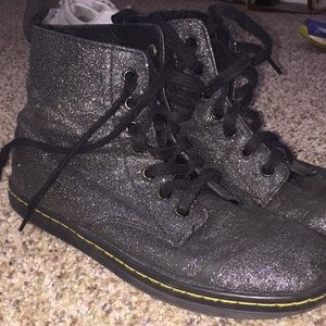 black sparkle doc martens